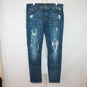 7FAM Josefina Skinny Boyfriend Button Fly Jeans 28